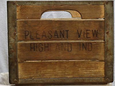 Vintage Wood & Steel Milk Crate - Pleasant View - Highland, Indiana