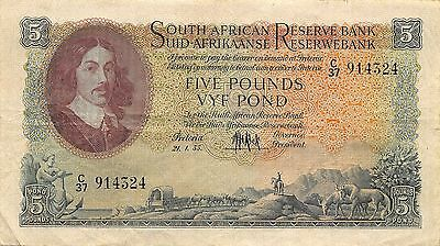South Africa 5 pound  21.1.1955  P 96c Series C/37 circulated Banknote  G. SA1