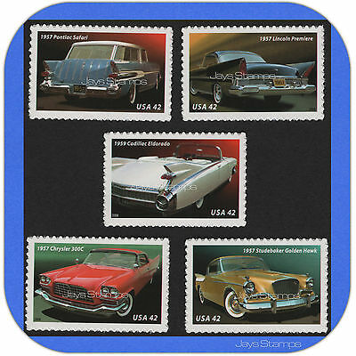2008  FINS & CHROME  Full Set of 5  MINT  1950's  America on the Move  # 4353-57