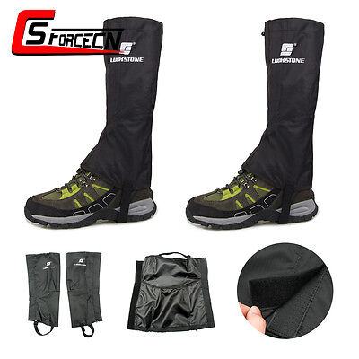 1 Pair Waterproof Hiking Walking Climbing Gaiters Hunting Legging Gaiter Black