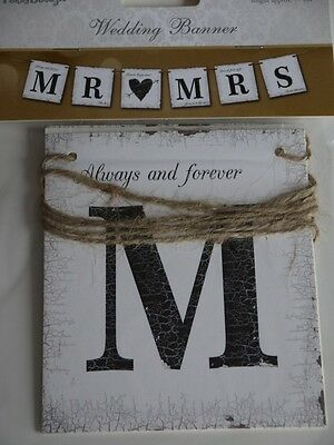 Mr and Mrs Bunting Wedding Card Banner Vintage Rustic Theme Bargain Decoration