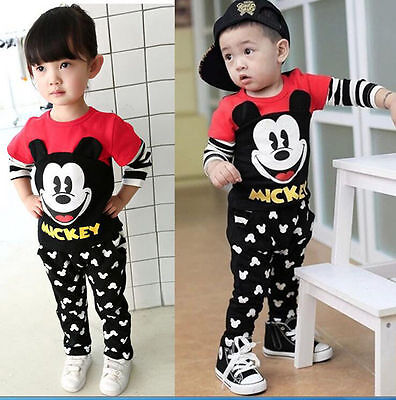 New 2Pcs Kids Baby Boys/Girl Mickey Mouse T-Shirt + Pants Set casual New Outfits
