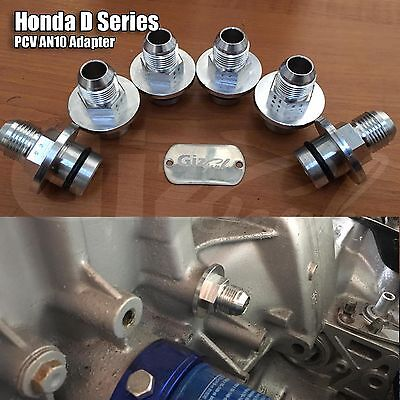 Honda D Series PCV Engine Block Adapter AN10 Catch Tank Oil Fitting