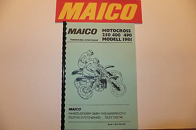 Maico Owners Workshop Manual And Parts List Copy '81 250 400 490 Mx Free Postage