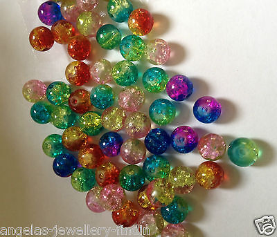 100 x 8 mm Duo Colour Crackle Beads - mixed colours