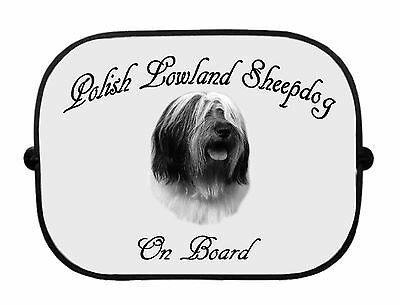 x1 Polish Lowland Sheepdog Printed Dog Design Car Window Sun Shade CSPOLSHEEP-1