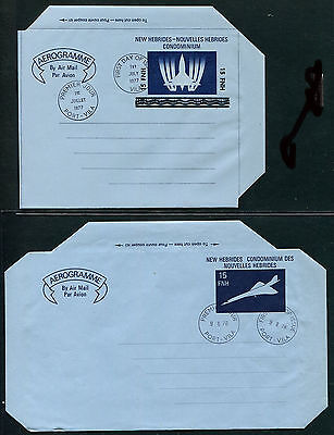 New Hebrides 1977-78 Concorde aerogrammes used First Day (2)