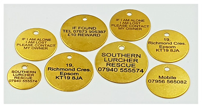 Personalised Solid Brass Pet Cat Dog Kitten Puppy Id Tag, Id Disc Laser Engraved