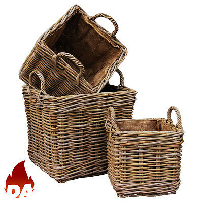 Square Woven Natural Rattan Baskets With A Removable Hessian Lining - Log Basket