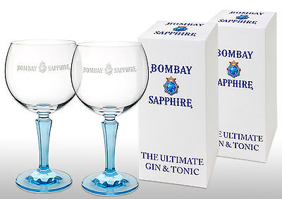 Bombay Sapphire Cristal Balloon Glass X 2 Gift Boxed