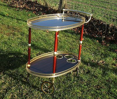 Vintage Oval Bar Cart cocktail Trolley Serving tray Mid Century Modernist WOW