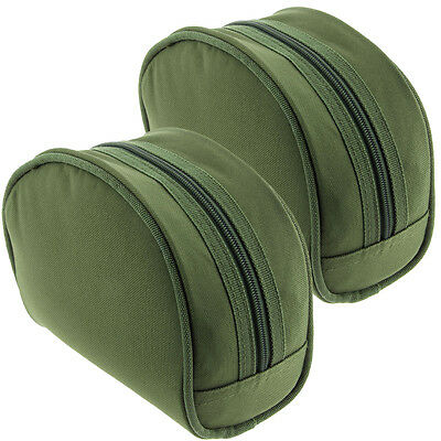 2 x NGT Green Polyester Carp Coarse Padded Green Fishing Tackle Reel Cases Set