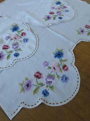 Beautiful Set Vintage Linen Chair & Sofa Backs- Crewel Work Hand Embroidery