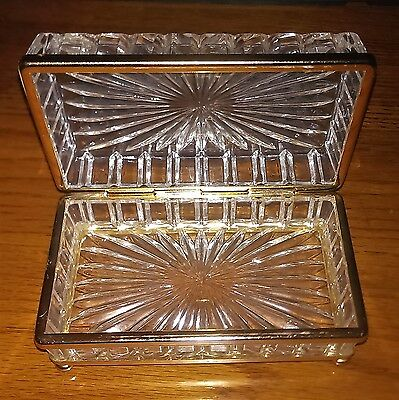 VTG Cut Glass Box Hinged Lid~Footed~Clear Gold Tone Accents~5-3/4x3-1/4x2-3/4