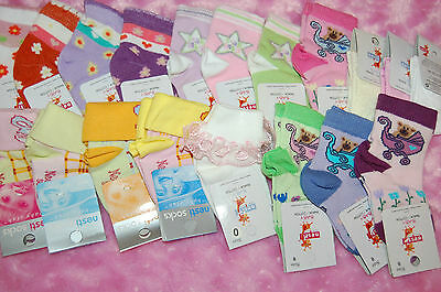 20 Pairs Baby Girl Ankle High Socks Cotton 0-6 Months