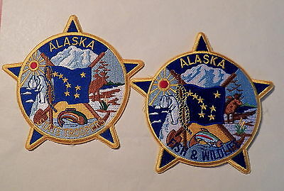 State of ALASKA Law Enforcement Patches - Set of 2     (State Troopers/F&W)
