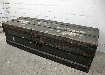 Antique Large Military Chest / Storage Trunk / Footlocker. Old Rustic Box