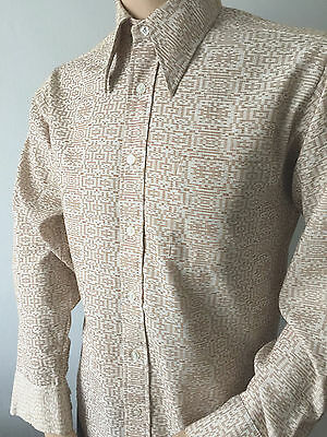 70's PATTERNED VINTAGE SHIRT GEOMETRIC RETRO PRINT POINTED COLLAR FAB LARGE UK