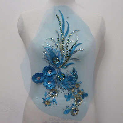 1Pcs 3D Flower Embroidered Tulle Sequins Acrylic Applique/Patch Sew On