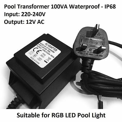 LED Pool Lights Low Vol Transformer Power Convert Input 220-240V to 12V AC 100VA