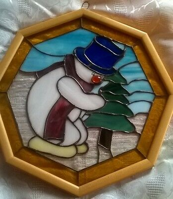 Stained glass panel. Snowman.