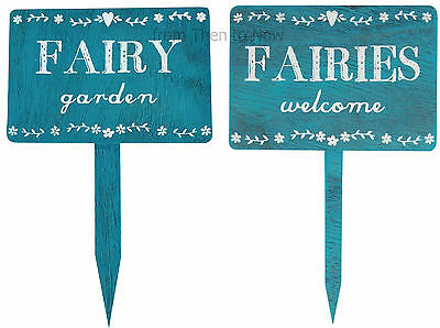 Rustic Wooden Fairy Fairies Garden Plaque Stake Blue House Sign Chic Shabby Gift