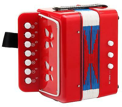 Accordeon Jouet Instrument Musique Enfant 7 Touches 2 Basses Belle Sonorite Red