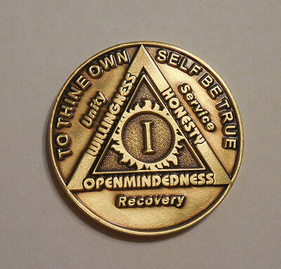 Aa 1 Year Bronze Coin Chip Medallion Alcoholics Anonymous New