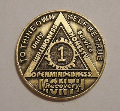 aa alcoholics anonymous 1 month recovery sobriety chip coin token medallion