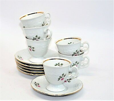 Wawel Poland China Rose Garden Set 6 Coffee Tea Cups and Saucers