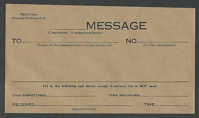 mjstampshobby US War Department M 40 Message to Field Post (Lot864)