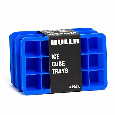 HULLR Ice Cube Silicone Trays, 3 Pack BPA Free, 1 Inch Cubes