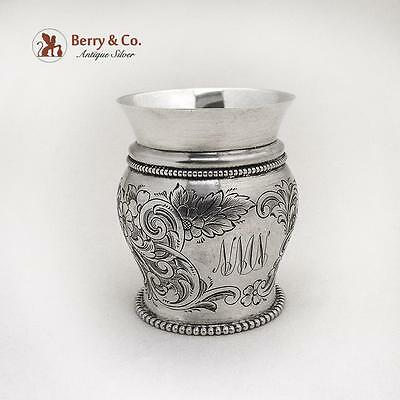 Engraved Floral Scroll Small Cup Vase Beaded Rims Gorham Sterling Silver