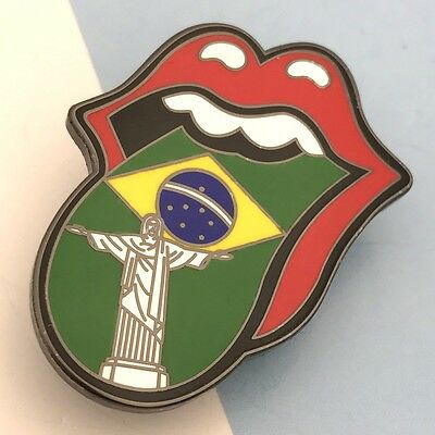 ROLLING STONES TONGUE PIN BRAZIL FLAG CHRIST  flat  red lips