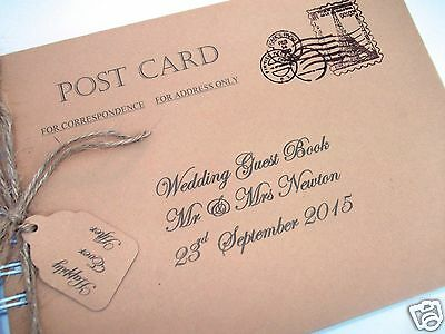 Vintage Postcard Wedding Guest Book Personalised Shabby Chic New In Box