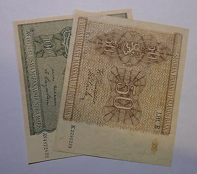 1945 - Finland - Lot of 2 Banknotes - 50 and 100 Markkaa (Mark) Banknote