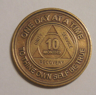 aa bronze alcoholics anonymous 10 month sobriety chip coin token medallion