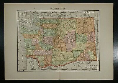 1895~WASHINGTON~Antique COLOR Map~Rand McNally~11x14~Old Authentic & Original