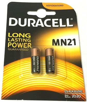 LRV08 A23 MN21 DURACELL LONG LASTING 12v ALKALINE BATTERIES Blister Pack of 2
