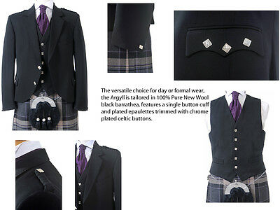 Argyll Jacket and Waistcoat (Black) - Made in Scotland