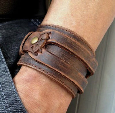 Antique Men's Brown Wide Leather Cuff Bracelet Wrist Band Wristband Handcrafted