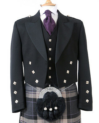 5 Button Prince Charlie Waistcoat (Black) - Made in Scotland