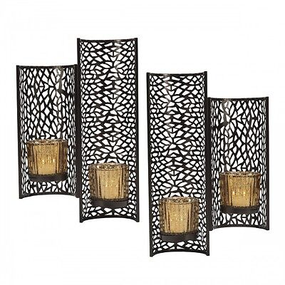Candle Wall Sconce Set Laser - Cut Metal Decorative Artwork Glass Votive Holder  sc 1 st  PicClick & CANDLE WALL SCONCE Set Laser - Cut Metal Decorative Artwork Glass ...