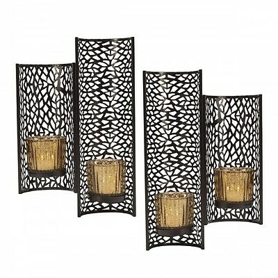 Candle Wall Sconce Set Laser - Cut Metal Decorative Artwork Glass Votive Holder  sc 1 st  PicClick : votive wall sconce - www.canuckmediamonitor.org