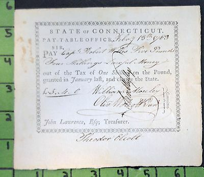 1783 Revolutionary War Pay Document Captain Robert Wells Connecticut
