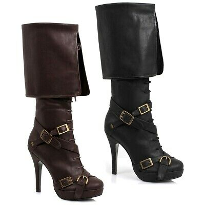 Pirate Boots for Women Adult Steampunk Costume Fancy Dress Shoes