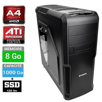 Ordinateur PC de bureau 3.9 GHZ , SSD+HDD , RAM 8Go