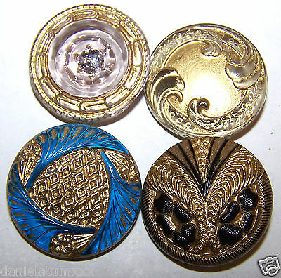 """4 pieces of VINTAGE CZECH  GLASS BUTTONS - 1"""" large"""