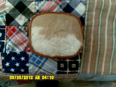 Vintage Genuine Brown Leather Cowhide With Real Fur Coin Purse Has Belt Hoop