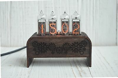 Nixie Tube Clock With 4 Digits, Vintage USB Nixie Clock IN-14 With Soviet Lamps